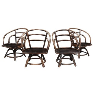 1960s Vintage Brown Jordan Bamboo Swivel Dining Chairs - Set of 4 For Sale