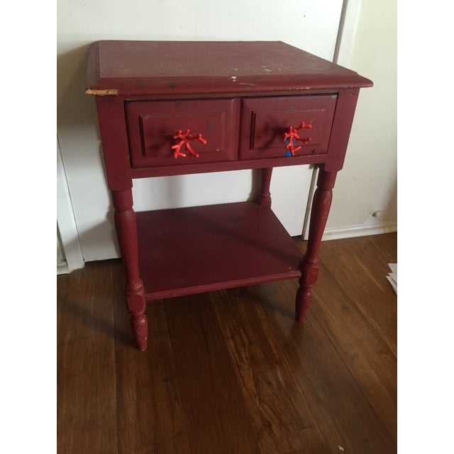 Distressed Maroon One Drawer Side Table - Image 2 of 7