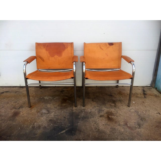 Contemporary Distressed Leather & Chrome Sling Chairs - A Pair For Sale - Image 3 of 8