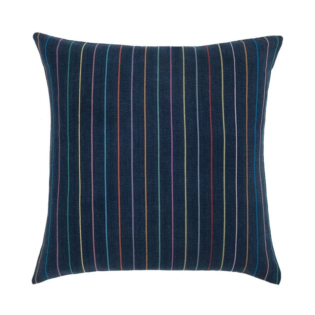 Boho Chic Indigo Rainbow Stripe Pillow For Sale - Image 3 of 3