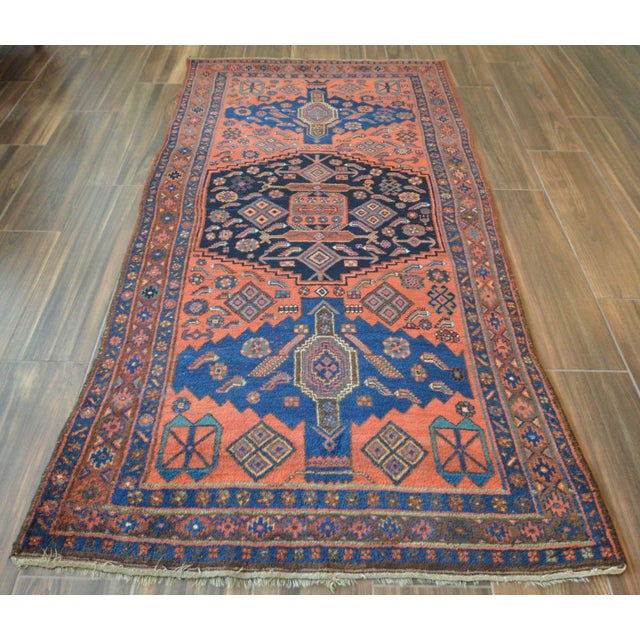"Antique Persian Bidjar Long Rug - 4'5"" x 8'3"" - Image 3 of 9"