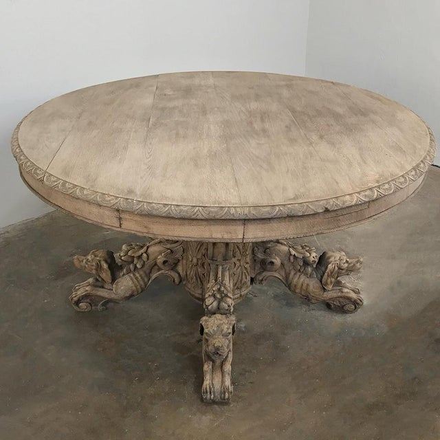 Mid 19th Century 19th Century French Renaissance Stripped Oak Center Table With Hunting Dogs For Sale - Image 5 of 13