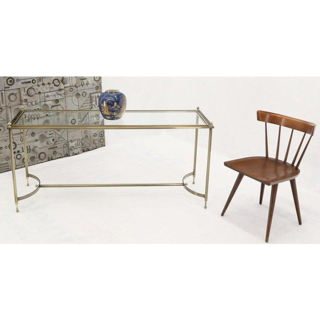 DIA Mid-Century Modern two-tone metals console or sofa table with glass top.