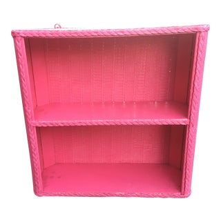 1950s Shabby Chic Hot Pink Wicker Shelf For Sale