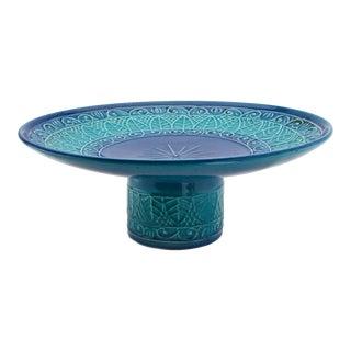 Mid-Century Modern Blue Ceramic Cake Platter For Sale