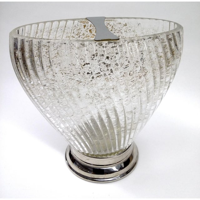 Deco Swirl Crystal Gold Fleck Vase With Silver For Sale - Image 4 of 7