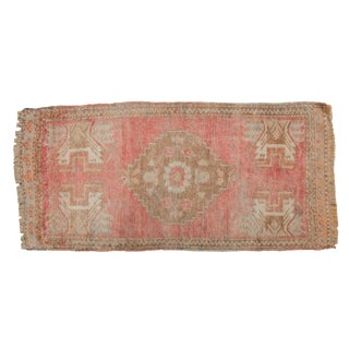 "Vintage Distressed Oushak Rug Runner - 1'10"" X 3'9"" For Sale"