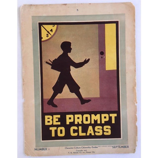 "Children's 1930s Vintage ""Be Prompt to Class"" Classroom Poster For Sale - Image 3 of 3"