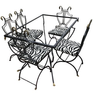 Art Deco Italian Wrought Iron Lyre Swan Set 5 Dining Chairs & Table by Copelon
