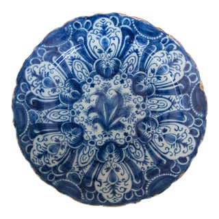 Antique 18th-Century Delft Dutch Tulip Charger For Sale