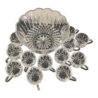 Shannon Crystal Punch Bowl & 12 Cups - Set of 13