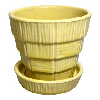 """McCoy Pottery Small """"Yellow"""" Mid-Century Flowerpot and Saucer For Sale"""