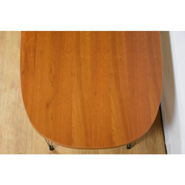 Cherry and Chrome Oval Coffee Table For Sale - Image 4 of 9