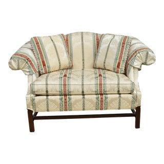 1990s Vintage Brandywine Designs Calico Corners Striped Chippendale Loveseat For Sale
