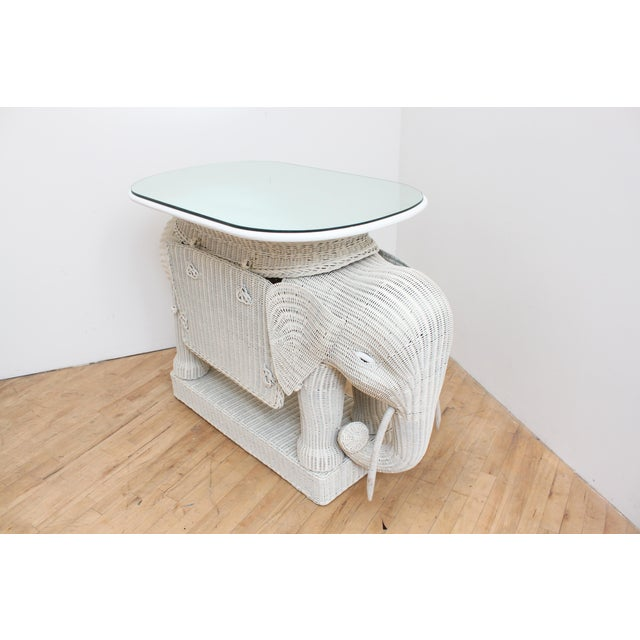 Boho Chic Wicker Elephant Bar W/ Mirror Top and Hidden Storage For Sale - Image 3 of 9