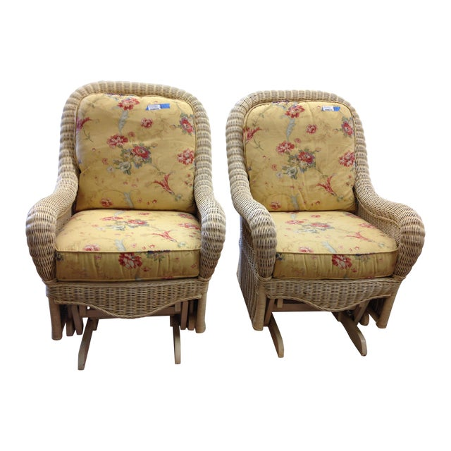 Ethan Allen Off-White Wicker Rocking Chairs - Pair For Sale