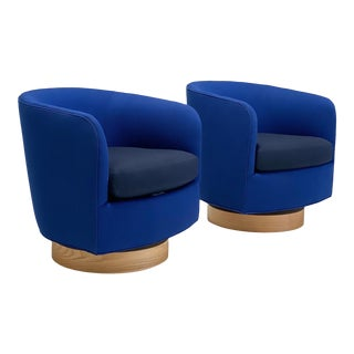 Mid Century Two Tone Blue Milo Baughman Swivel Tub Chairs - a Pair For Sale