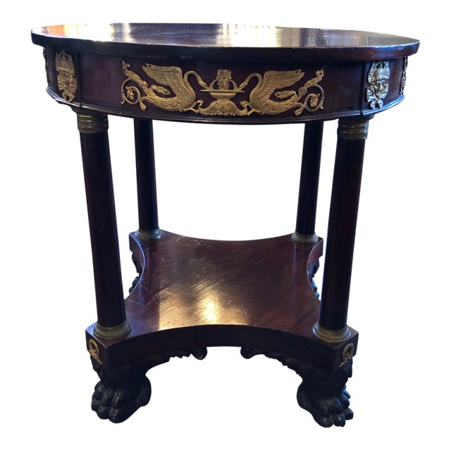 1800 French Round Gueridon Side Table With Bronze Ormolu Details For Sale