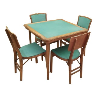 Mid Century Stakmore Wood Folding Table & Teal Vinyl Surfaces/Cushion Chairs - Set of 5