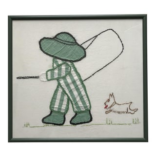 Striped Child With Needlepoint Terrier Gone Fishin