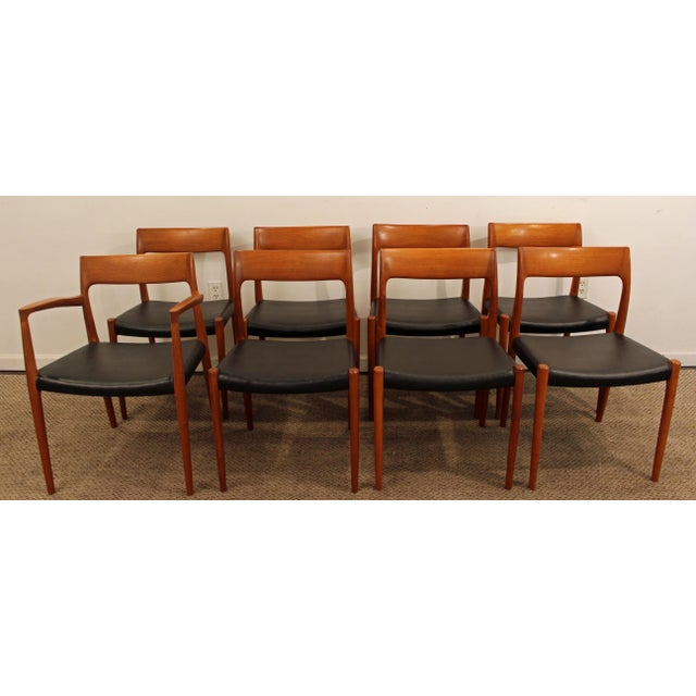Set of 8 Mid-Century Danish Modern Niels Moller Teak Dining Chairs #77 Offered is a Set of 8 Mid-Century Danish Modern...