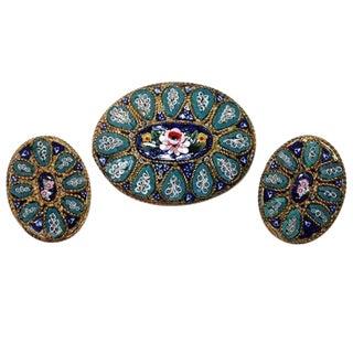 Vintage Italian Micro-Mosaic Brooch & Earrings, Italian Mosaic Jewelry, Floral Mosaic Brooch, Gifts for Her For Sale
