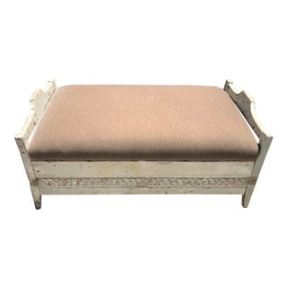 Antique Carved French Farmhouse Velvet Upholstery Storage Bench / Ottoman