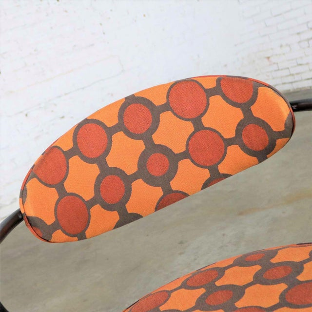 Mid Century Modern Black Bent Steel Tube Armchair With New Orange Upholstery For Sale - Image 10 of 13