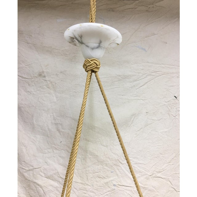 Contemporary Vintage Carved Marble Bowl Chandelier With Gold Cord and Marble Canopy For Sale - Image 3 of 5
