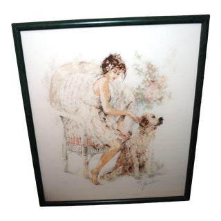 Girl on Chair With Dog Frame Cross Stitch Textile Art For Sale