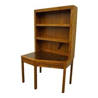 Dixie Furniture Clipper Ship Collection Corner Writing Desk W. Lighted Bookcase Hutch For Sale