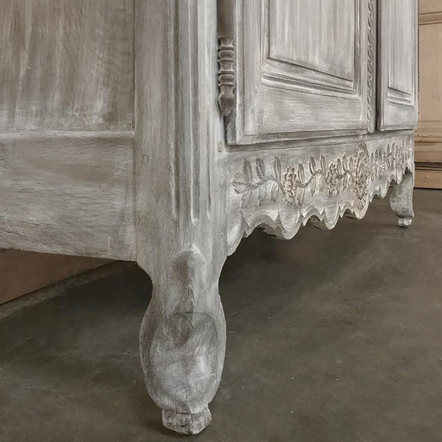 19th Century Country French Provincial Whitewashed Armoire For Sale - Image 9 of 13