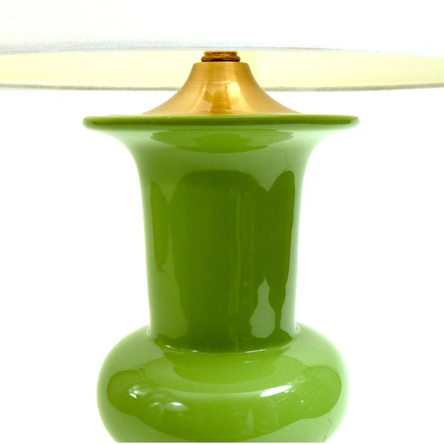 Gold Green Porcelain With Gilt Brass Base Table Lamps - a Pair For Sale - Image 8 of 10
