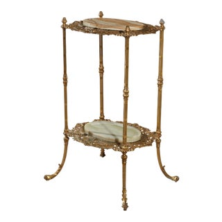 Antique French Victorian Gilt Bronze and Onyx Fern Display Stand For Sale