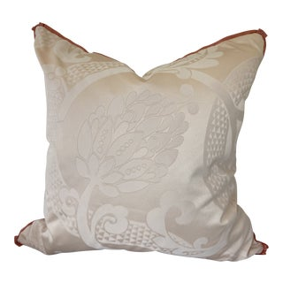 Pink Damask Silk Pillow With Coral Trim For Sale
