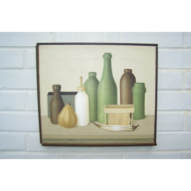 Mid-Century Green Bottles Still Life Painting - Image 3 of 8