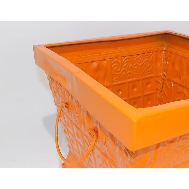 Mid-Century Modern Contemporary Orange Square Metal Catchall Bin Organizer For Sale - Image 3 of 8