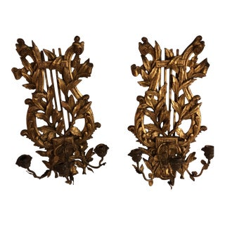 Gold Italian Sconces - A Pair