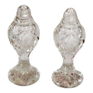 Vintage Ornate Bohemia-Czech Heavy Hand Cut Lead Crystal Salt & Pepper Shakers - A Pair For Sale