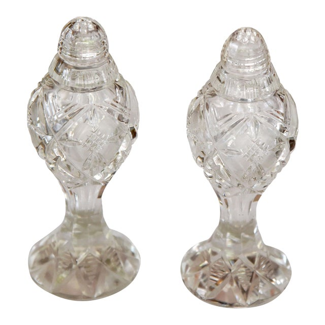 Vintage Ornate Bohemia-Czech Heavy Hand Cut Lead Crystal Salt & Pepper Shakers - A Pair For Sale