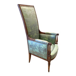 Antique High Back Chair, Silk Upholstery For Sale