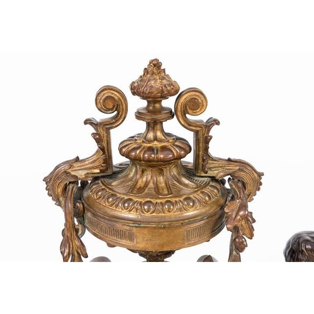 Metal 19th Century French Bronze Chenets - a Pair For Sale - Image 7 of 12