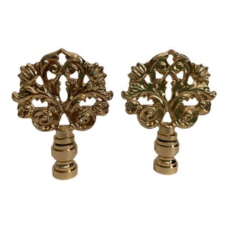 Art Nouveau Style Flower and Leaf Lamp Finials - Pair For Sale
