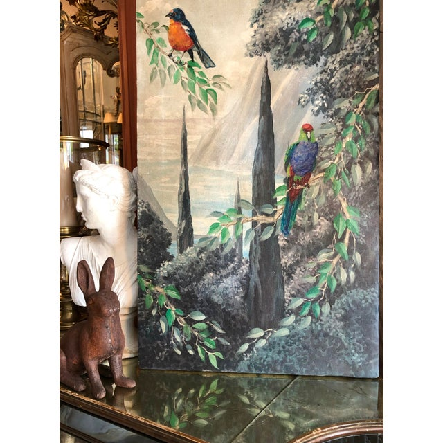 Set of 2 Panels presenting Birds in the Forest, Italy C. 1890-1940. Very nice hand painted in Watercolor on Canvas. Old...
