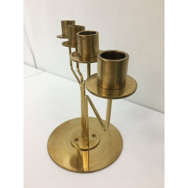 1960s Mid-Century Modern Style 4-Arm Brass Candelabra For Sale - Image 5 of 12