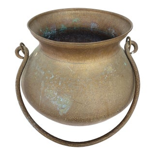 Antique Hand-Hammered Brass Planter W/ Handle For Sale