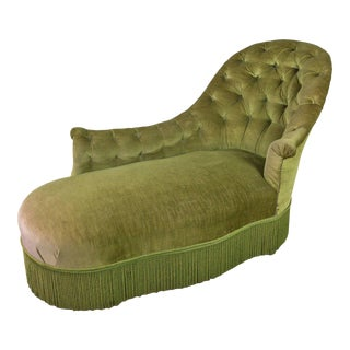 Tufted Asymmetrical Green Chaise Longue