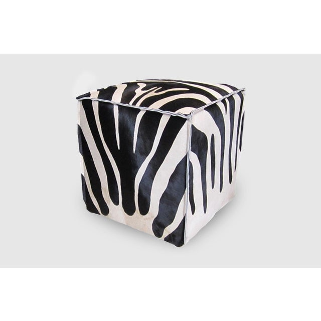 Flanged Cube Zebra Black & White Hair on hide Please allow 4 weeks before the item ships.