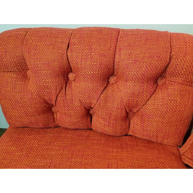 Mid-Century Orange Upholstered Butterfly Chairs - a Pair For Sale - Image 4 of 5