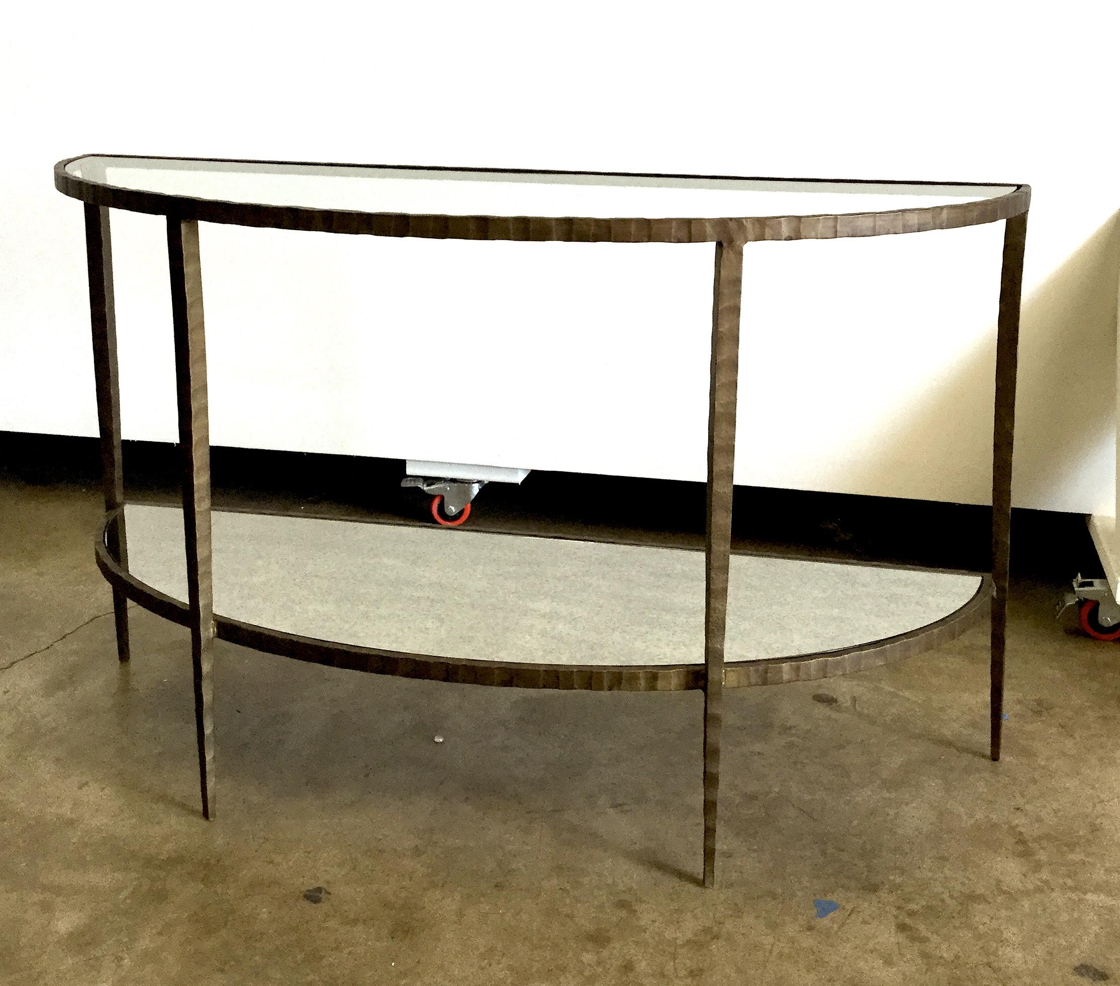 Offered Is A Demilune Console With Hammered Antiqued Brass Finished Frame.  Glass Top And Antiqued